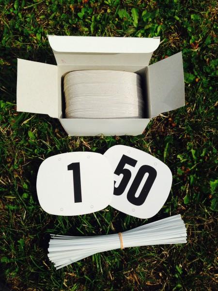 Startnummernpaar Pappe 1-50
